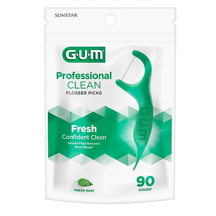 Alternate image 1 for Sunstar GUM® Professional Clean 90-Count Flossers with Extra Strong Floss in Mint