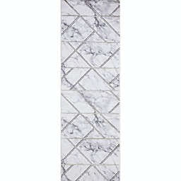 Concord Global Trading Bellucci Geometric 2'3 x 7'3 Runner in Gold