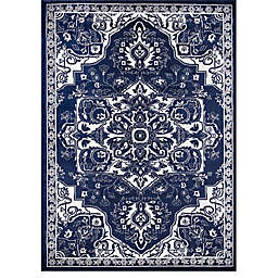 Concord Global Trading Jefferson Vintage Medallion 6'7 x 9'3 Area Rug in Navy