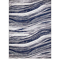 Concord Global Trading Jefferson Marble Stripes Rug in Navy