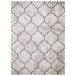 Concord Global Trading Jefferson Morocco Trellis 6'7 x 9'3 Area Rug in Ivory