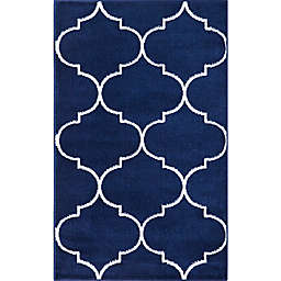 Concord Global Trading Jefferson Morocco Trellis 2'7 x 4'1 Area Rug in Navy