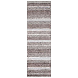 Concord Global Trading Toscano Stripe 2'3 x 7'3 Runner in Brown