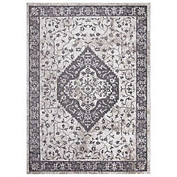 Concord Global Trading Pearl Heriz Medallion 6'7 x 9'3 Area Rug in Ivory