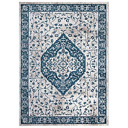 Concord Global Trading Pearl Heriz Medallion 5'3 x 7'3 Area Rug in Blue