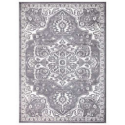 Concord Global Trading Jefferson Vintage Medallion 5'3 x 7'3 Area Rug in Grey