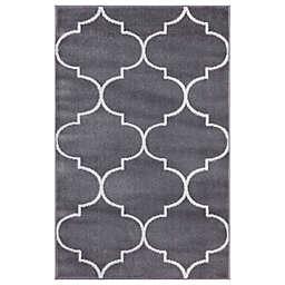 Concord Global Trading Jefferson Morocco Trellis 2'7 x 4'1 Area Rug in Grey