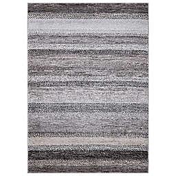 Concord Global Florencia Stripe 3'3 x 4'7 Area Rug in Grey