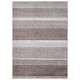 Concord Global Trading Toscano Stripe 3'3 x 4'7 Area Rug in Brown