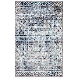 Concord Global Trading Piazza Geometric 2'7 x 4'1 Area Rug in Blue