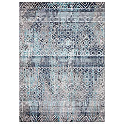 Concord Global Trading Piazza Geometric 6'7 x 9'3 Area Rug in Blue