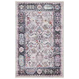 Concord Global Angora Border 2'7 x 4/1 Accent Rug in Grey