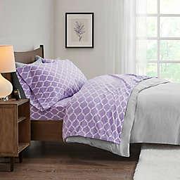 True North by Sleep Philosophy Ogee Microfleece Queen Sheet Set in Purple