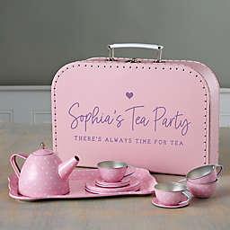Personalized 15-Piece Pink Polka Dot Tea Set