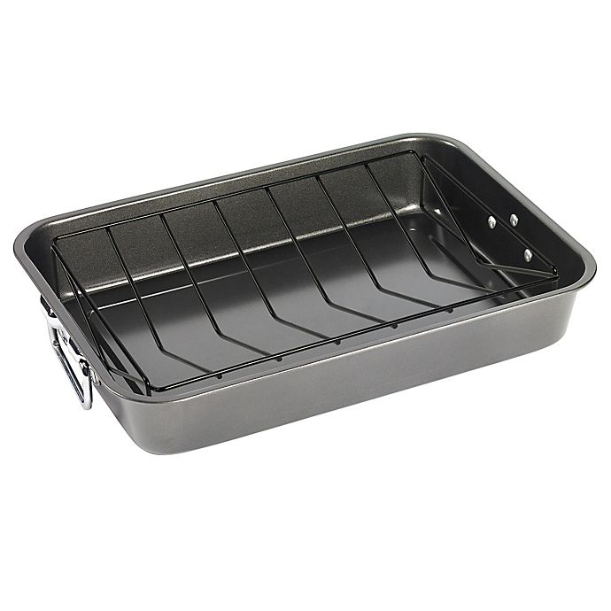 Alternate image 1 for Simply Essential™ Nonstick 18.5-Inch Carbon Steel Roaster with Rack