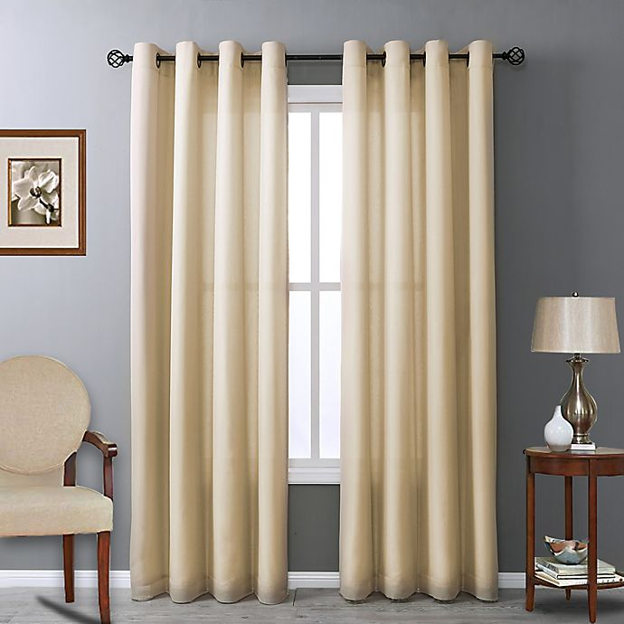 Alternate image 1 for Commonwealth Home Fashions Rhapsody 84-Inch Grommet Window Curtain Panel in Mushroom