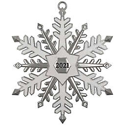 Snowflake 2021 Christmas Ornament in Silver/White