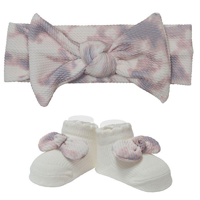 Alternate image 1 for Little Me® Size 0-12M 2-Piece Mushroom Tie Dye Headwrap and Bootie Set