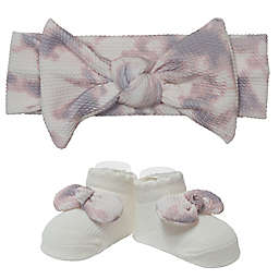 Little Me® Size 0-12M 2-Piece Mushroom Tie Dye Headwrap and Bootie Set
