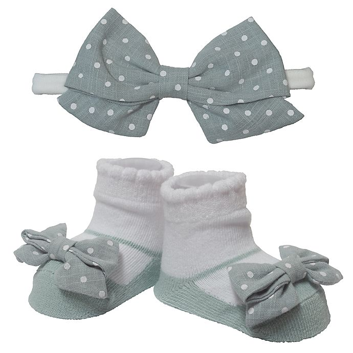 Alternate image 1 for So 'dorable Size 0-12M 2-Piece Celadon Dot Headband and Bootie Set