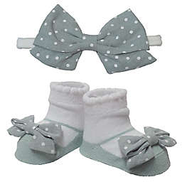 So 'dorable Size 0-12M 2-Piece Celadon Dot Headband and Bootie Set