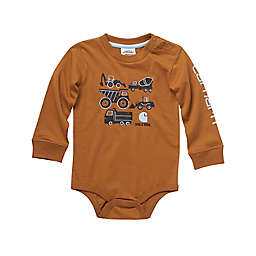 Carhartt® Knit Long Sleeve Crewneck Construction Vehicle Graphic Bodysuit in Brown