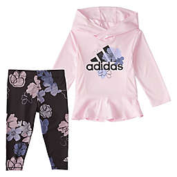 adidas® Hooded Top and Printed Legging Set in Heather Pink