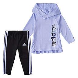 adidas® Size 12M Melange Hooded Top and Legging Set in Violet