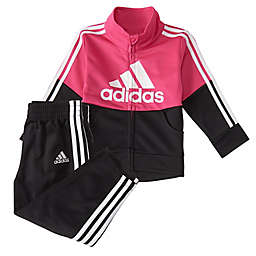 adidas® Size 3M 2-Piece Colorblock Tricot Tracksuit Set in Magenta/Black