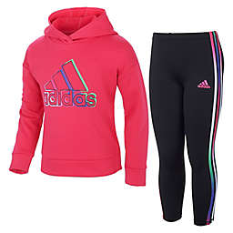 adidas® Size 2T Fleece Pullover and Legging Set in Magenta