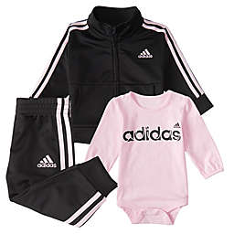 adidas® 3-Piece Tricot Track Set in Pink/Black