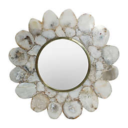 A&B Home 11.8-Inch Round Agate Wall Mirror in White/Brass