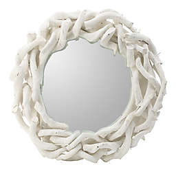 A&B Home Wood Wall Mirror in White