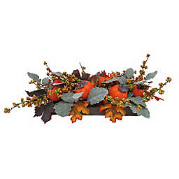 Bee & Willow™ 6.5-Inch Persimmon and Berry Floral Centerpiece in Orange with Wood Box