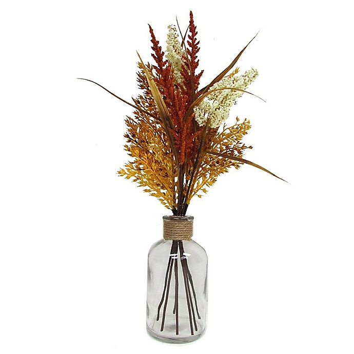 Alternate image 1 for 14-Inch Heather and Sorghum Floral Bouquet in Glass Jar