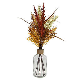 14-Inch Heather and Sorghum Floral Bouquet in Glass Jar