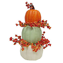16-Inch 3 Faux Stacked Pumpkins with Berries Tablepiece<br />