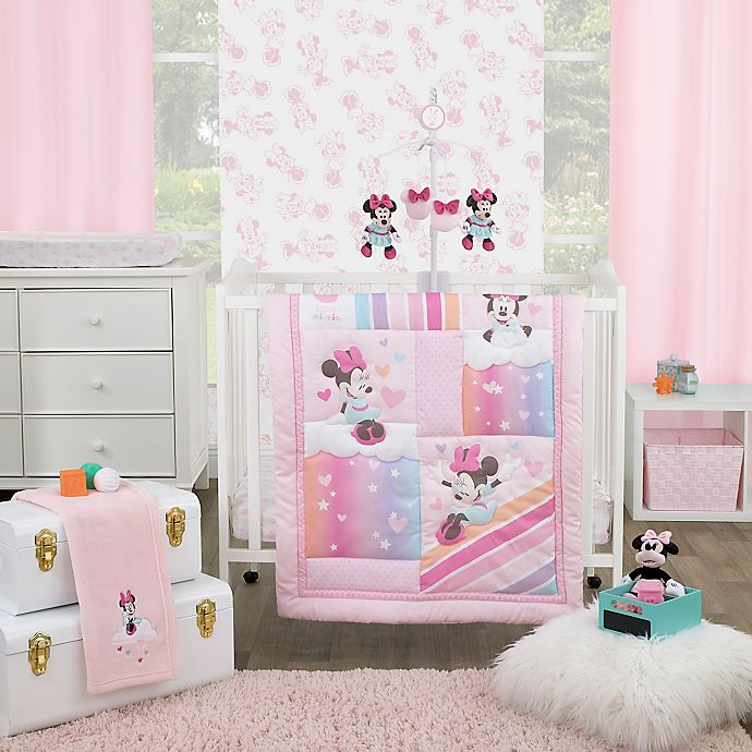 Alternate image 1 for Disney® Minnie Mouse Be Happy 3-Piece Mini Crib Bedding Set in Pink