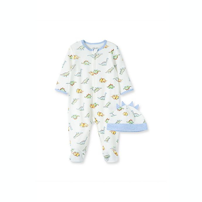 Alternate image 1 for Little Me® 2-Piece Dinomite Long Sleeve Footie and Hat Set in Ivory/Multi