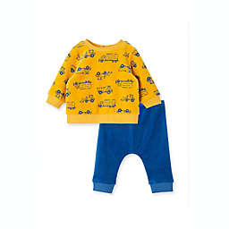 Little Me® Size 9M 2-Piece Construction Velour Shirt and Pant Set in Yellow