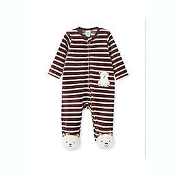 Little Me® Striped Bear Velour Footie in Brown