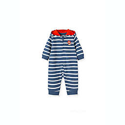 Little Me® Striped Lion Hooded Coverall in Navy