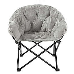 Simply Essential™ Foldable Saucer Lounge Chair in Light Grey Faux Fur