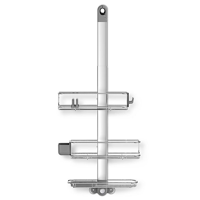 Alternate image 1 for simplehuman® Adjustable Shower Caddy Plus in Stainless Steel