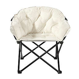 Simply Essential™ Foldable Faux Fur Club Chair in Ivory
