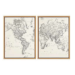 Kate and Laurel™ Sylvie 2-Piece Vintage World Map Framed Canvas Wall Art