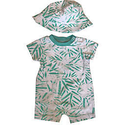 Sterling Baby Size 3M Geo Print Short Sleeve Romper and Hat Set in Green