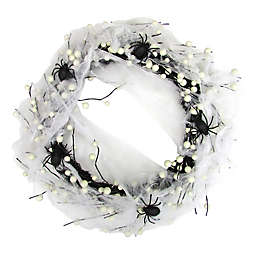 22-Inch Berries and Spider Web Grapevine Wreath in Black/White