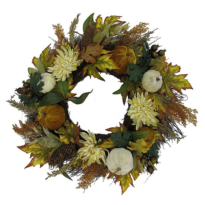 Alternate image 1 for 24-Inch Mums and Pumpkins Maple Leaf Wreath