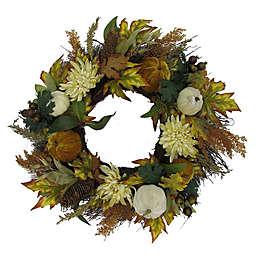 24-Inch Mums and Pumpkins Maple Leaf Wreath